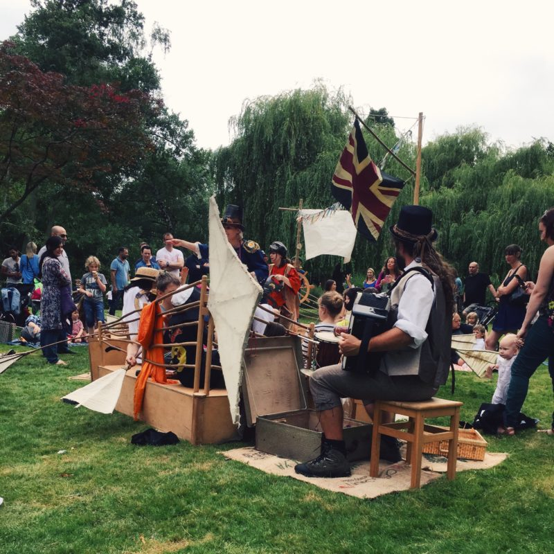 Steampunk pirate ship from woking party in the park