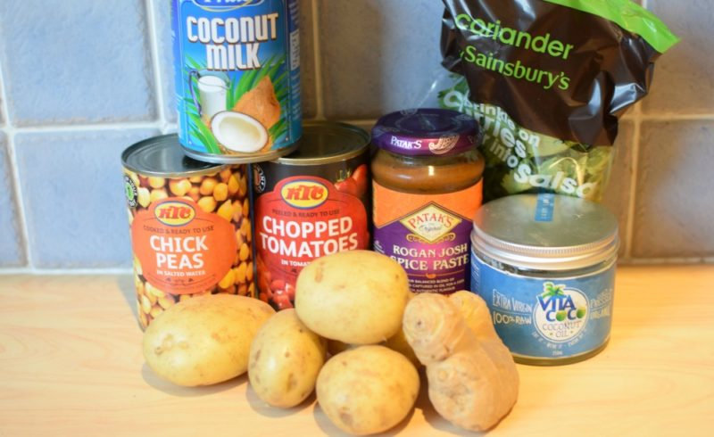 ingredients for potato, chickpea and spinach curry