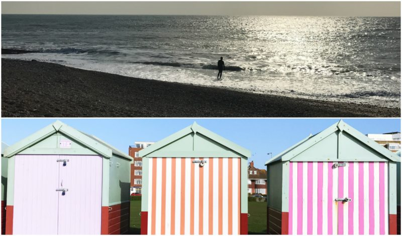 beach huts swimmer sea goodbye february