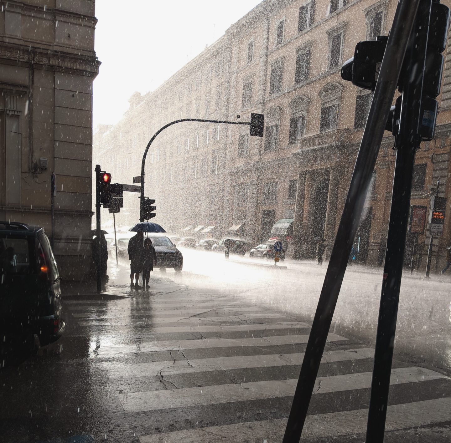 heavy rain in rome street