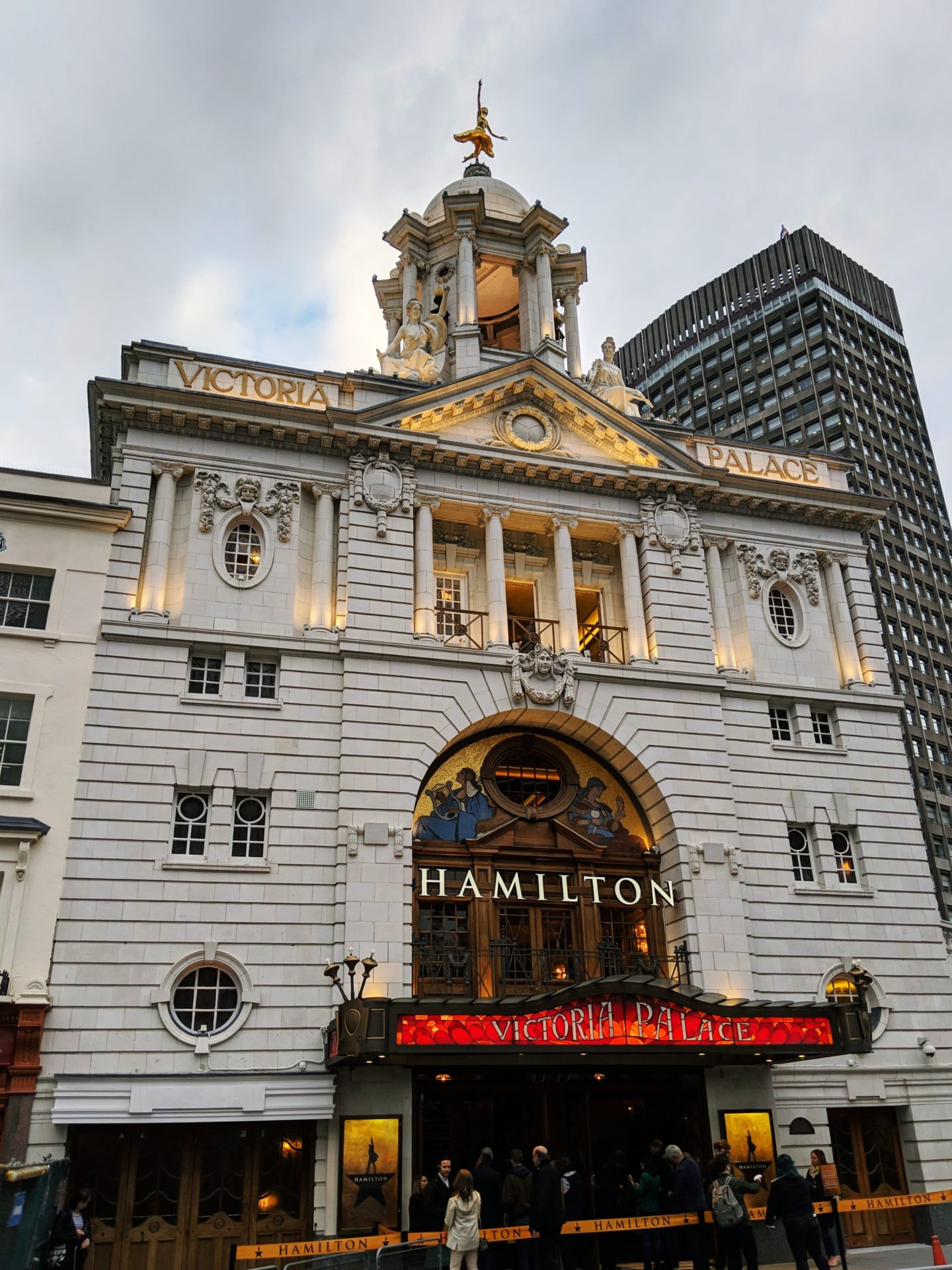 exterior of victoria palace london where the musical hamilton is currently playing